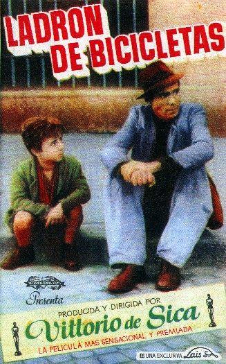 """Cartel de la película """"Ladrón de Bicicletas"""", de Vittorio de la Sica"""