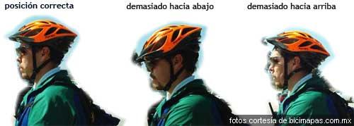 Posición correcta del casco de la bici
