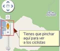 Para ver a los ciclistas una vez accedas a Google tienes que pinchar en el muñeco ;)