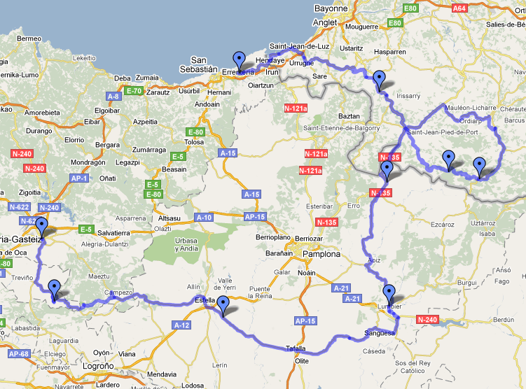 Mapa Pais Vasco Frances.Pais Vasco Frances Euskadi Y Navarra Rodadas Netviajes De