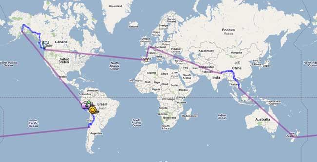 Mapa de nuestro viaje vuelta al mundo