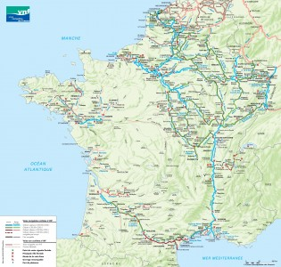 Mapa de canales navegables en Francia