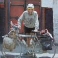 Bernard Magnoloux con Rocinante, la bici con la que dio la vuelta al mundo en 1983